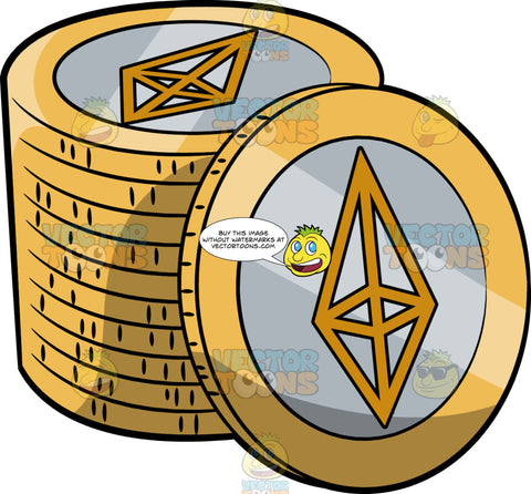 A Stack Of Gold With Silver Ethereum Coins