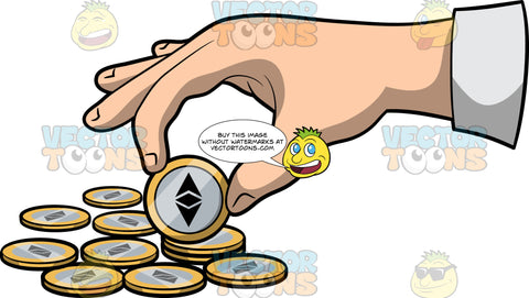 A Hand Picking Up An Ethereum Coin