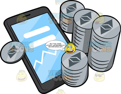 Stacks Of Ethereum Coins And A Phone