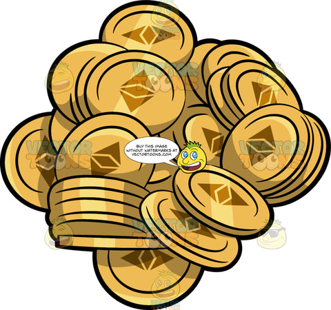 A Pile Of Ethereum Coins