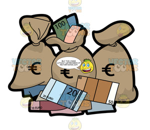 Bags And Bank Notes In The Euro Currency