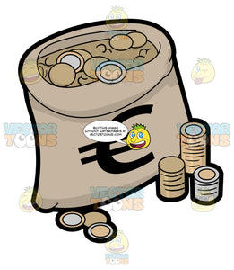 A Bag Full Of Euro Coins