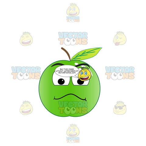 Examining Look On Green Apple Emoji