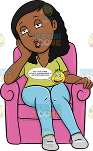 A Black Woman Resting On A Sofa Chair