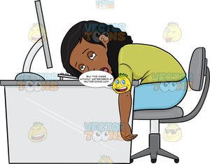 A Black Woman Tired From Working On Her Computer