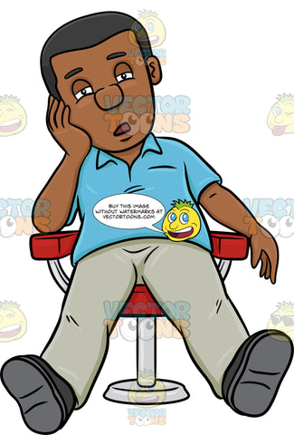 A Black Man Resting On A Chair