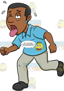 A Black Man Looking So Drained While Running