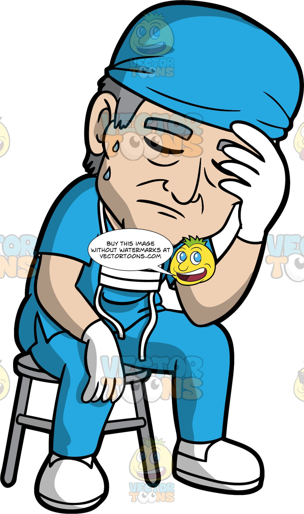 An Exhausted Doctor Sitting On A Stool. A doctor wearing blue scrubs, a blue cap, white gloves, white shoes, and a face mask hanging around his neck, sitting on a stool with his eyes closed and one hand on his forehead