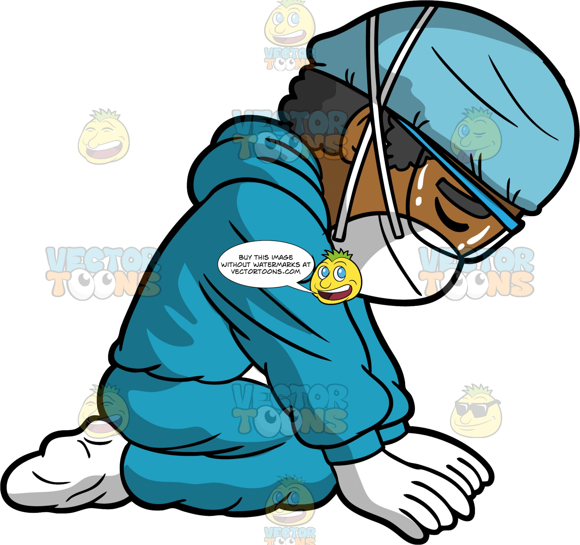 A Nurse Kneeling On The Floor Completely Exhausted. A black man wearing blue surgical scrubs, white booties, white gloves, a blue cap, a face mask, and eye goggles, kneeling on the ground with his eyes closed looking drained