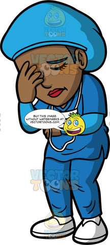 A Worn Out Doctor Closing Her Eyes While Standing. A black female doctor wearing blue scrubs, a blue cap, white shoes, and a face mask hanging around her neck, standing and closing her eyes with one hand on her face
