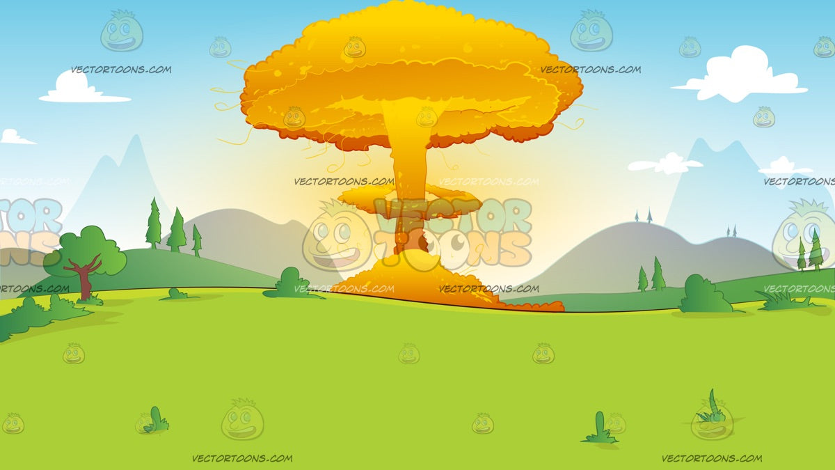 Exploding Atomic Bomb In A Field Background