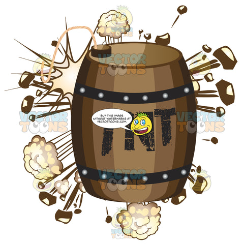 Wooden Barrel With Tnt Written On It With Clouds And Shooting Rocks Exploding In Background