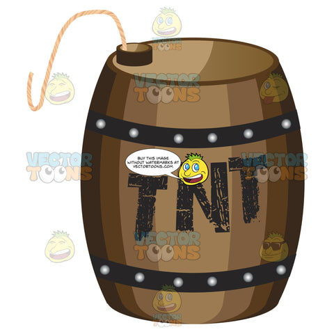 Brown Wooden Barrel With Tnt Painted On Side With Long Fuse