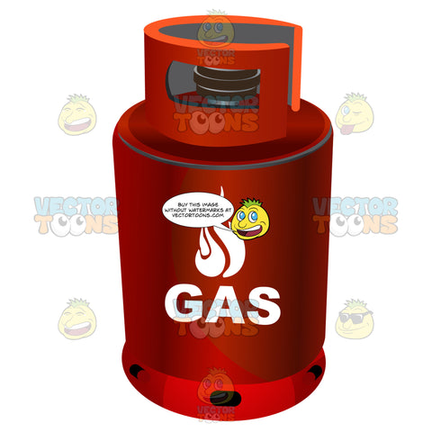 Red Metal Canister With Word Gas And Fire Symbol On Side