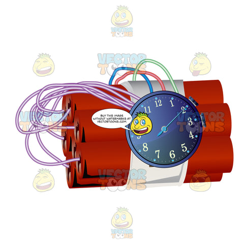 Bundle Of Red Sticks Of Dynamite With Fuses Going To Clock Timer
