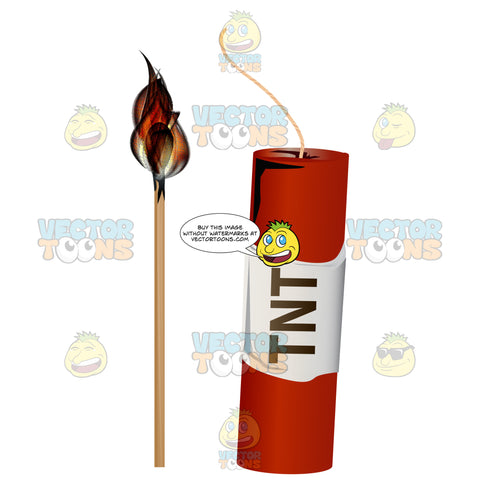 Red Stick Of Tnt Dynamite With Fuse Next To Lit Match