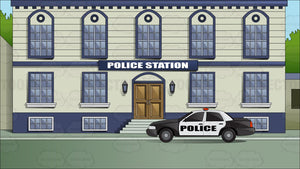 Exterior Facade View Of A Downtown Police Station
