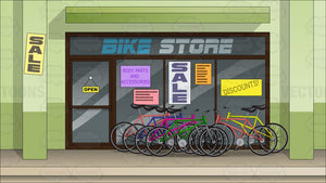 Exterior Of A Bike Shop Background