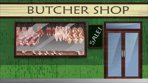 Exterior Of A Butcher Shop Background