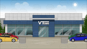 Exterior Of A Car Dealership Background