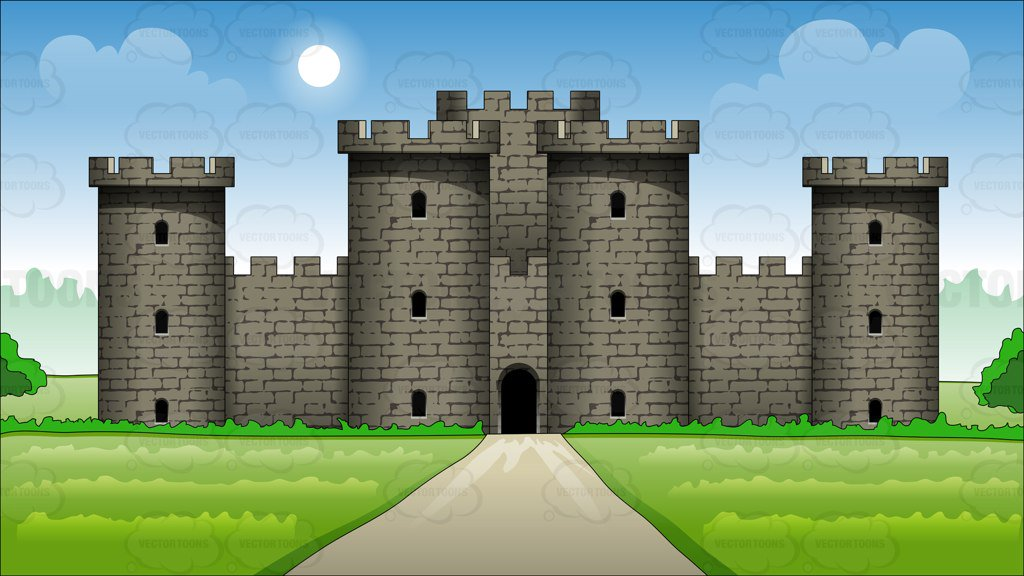 Exterior Of A Large Castle Background