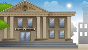 Exterior Of A Large City Bank Background