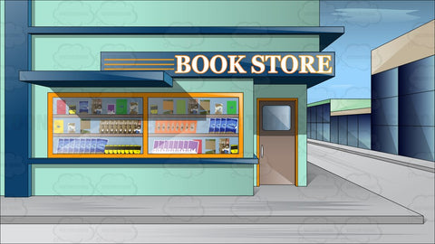 Exterior View Of A Book Store Around The Corner Of A City Street