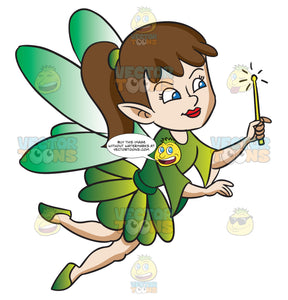 A Fairy Flying With Her Magic Wand