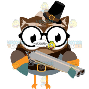 Brown And Orange Owl In Thanksgiving Pilgrim Clothes Holds A Musket
