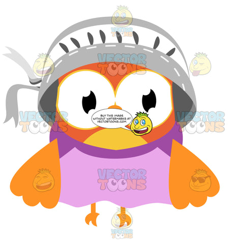 An Orange And Yellow Owl Wearing A Pink Dress And White Bonnet