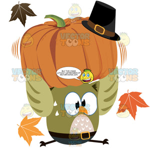 Owl Wearing Pants With Buckle Holding Fat Orange Pumpkin With Buckle Hat On Top