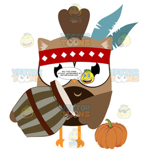 Brown Native American Owl In Headband With Feathers Holding Drum And Next To Pumpkin