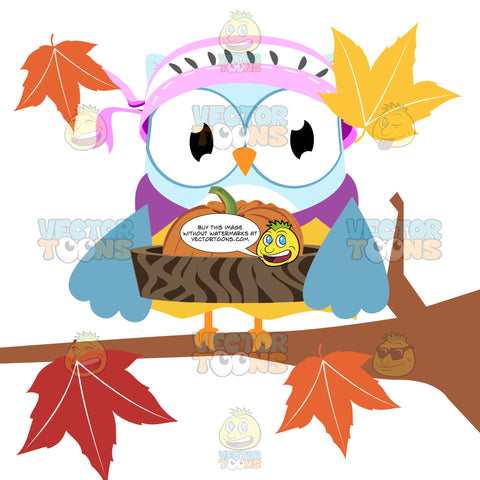 Blue Female Owl Wearing Bonnet Carries A Pumpkin In A Wooden Bowl Surrounded By Fall Leaves While Sitting On Tree Branch