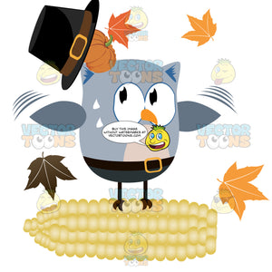 Blue Grey Owl Wearing Buckle Hat With Pumpkin Underneath Standing On White Yellow Corn On The Cob