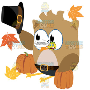 Brown Glasses Wearing Owl Tips Buckle Hat Surrounded By Two Pumpkins And Autumn Leaves