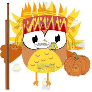 Orange And Yellow Feather Head Dress Wearing Owl Holding A Wooden Staff And A Pumpkin