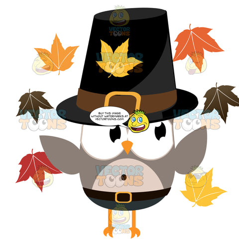 Grey Owl Wearing Pilgrim Buckle Hate, Belt And Blue Pants Surrounded By Autumn Colored Leaves