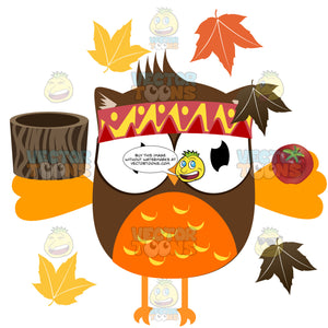 Brown And Orange Head Band Wearing Owl Holding Tree Log Bowl And Apple Surrounded By Autumn Leaves