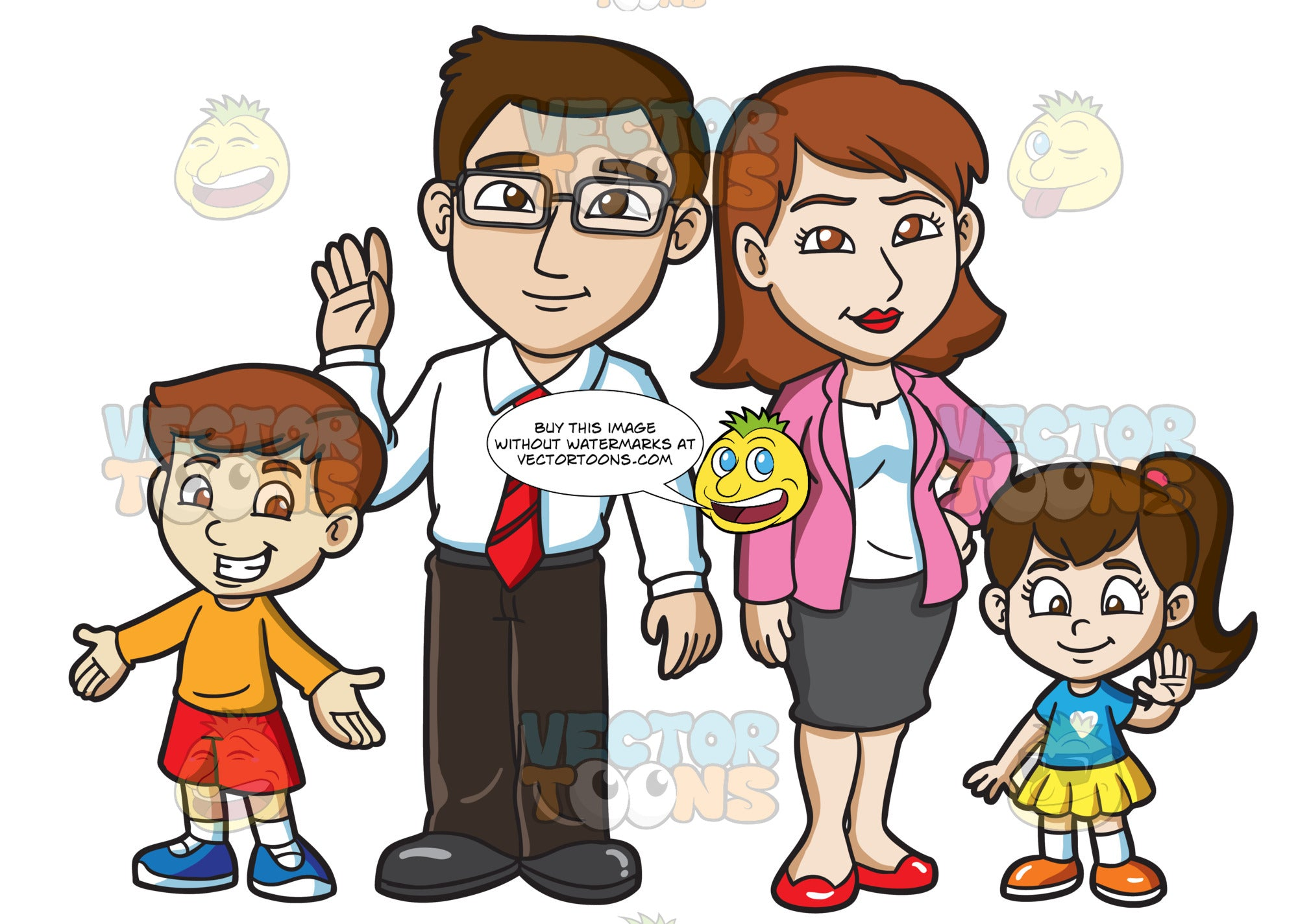 A Cute Family Of Four Clipart Cartoons By Vectortoons