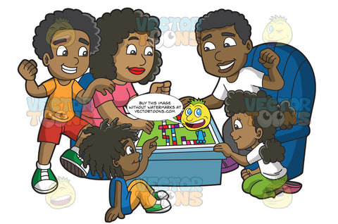 A Black Family Playing A Board Game