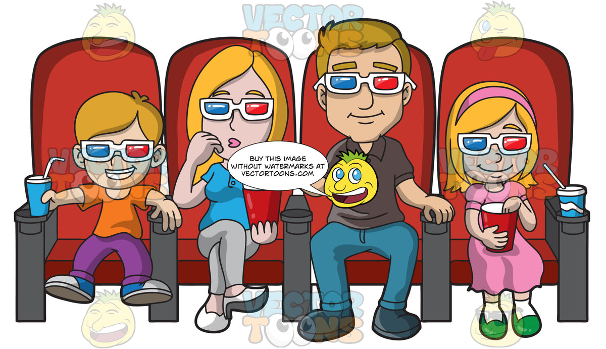 A Family Watching A Movie At A Theatre Clipart Cartoons