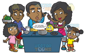 A Black Family Cooking A Meal Together