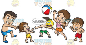 A Happy Family Playing With A Beach Ball