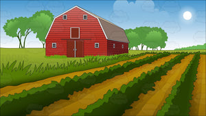 Farm Field And Barn Background
