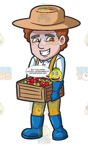 A Farmer Carrying A Box Of Apples