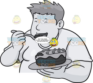 Fat Guy Enjoying A Whole Cake