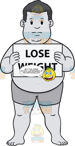 Fat Guy Holding A Lose Weight Sign