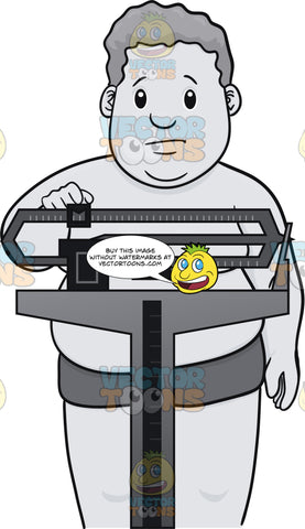 Fat Guy On Weighing Scale