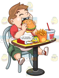 Overweight Kid Eating A Burger With Fries Soda And Spilled Ketchup At The Table