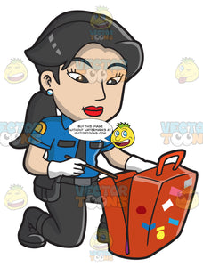 An Asian Female Airport Security Guard Inspecting Luggage